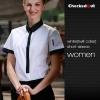 women short sleeve white (twill collar) shirtfashion contrast collar shirt restaurant staff uniform