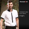 men short sleeve white (twill collar) shirtfashion contrast collar shirt restaurant staff uniform