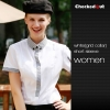 women white(grid collar) short sleeve shirtfashion contrast collar shirt restaurant staff uniform