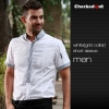 men white(grid collar) short sleeve shirtfashion contrast collar shirt restaurant staff uniform