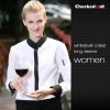women long sleeve white (twill collar) shirtfashion contrast collar shirt restaurant staff uniform