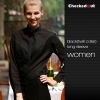 women long sleeve black(twill collar) shirtfashion contrast collar shirt restaurant staff uniform