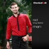 men long sleeve red shirtfashion contrast collar shirt restaurant staff uniform