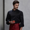 unisex black coatcontrast hem overlap invisible button chef uniform coat