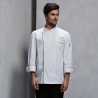 unisex white (black hem) coatcontrast hem overlap invisible button chef uniform coat