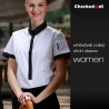 women short sleeve white(black collar) black contrast color collar closure bar waiter shirts cafe uniforms