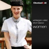 women short sleeve white(grid collar) black contrast color collar closure bar waiter shirts cafe uniforms