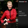 women long sleeve red shirtblack contrast color collar closure bar waiter shirts cafe uniforms