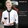 women long sleeve white(black collar) black contrast color collar closure bar waiter shirts cafe uniforms