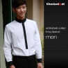 men long sleeve white(black collar) black contrast color collar closure bar waiter shirts cafe uniforms
