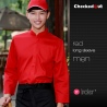 men red shirtlong sleeve invisible button restaurant wait staff waiter shirts cafe uniforms