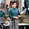 blackish green womenfashion vintage half sleeve waiter waitress shirts and apron Waiter 101