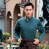 blackish green menfashion vintage half sleeve waiter waitress shirts and apron Waiter 101