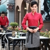 women redcasual Korea design long sleeve bar waiter shirt uniform