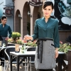 women blackish greencasual Korea design long sleeve bar waiter shirt uniform