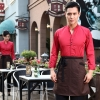 men redcasual Korea design long sleeve bar waiter shirt uniform