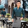 men blackish greencasual Korea design long sleeve bar waiter shirt uniform