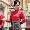 women redlong sleeve band collar basic waiter waitress uniform shirt