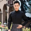 men blacklong sleeve band collar basic waiter waitress uniform shirt