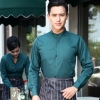 men blackish greenlong sleeve band collar basic waiter waitress uniform shirt