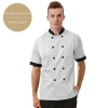 short sleeve white(black collar)professional design double breasted coat uniform restaurant men women chef