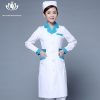white green collar long sleevepedal collar long sleeve medical care uniform nurse coat drugstore coverall
