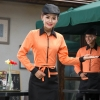 orange womenrestaurants coffee bar waiter waitress uniform shirt + apron