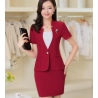 wine skirt suitssummer collarless thin formal work pant suits for women