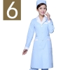 women light blue(white collar)winter high quality long sleeve front opening nurse doctor coat uniform