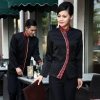 women red hemcurve front opening special waiter waitress blazer blouse